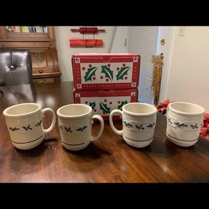 Longaberger Kitchen - Longaberger stoneware holly mugs